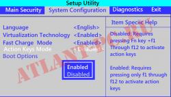 Настройка клавиши fn в bios на ноутбуке HP и Compaq