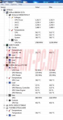 Open Hardware Monitor температура